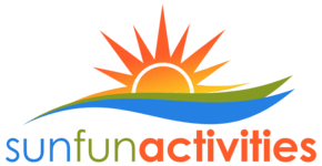 SunFun Activities orange yellow green blue sunrise waves and text logo